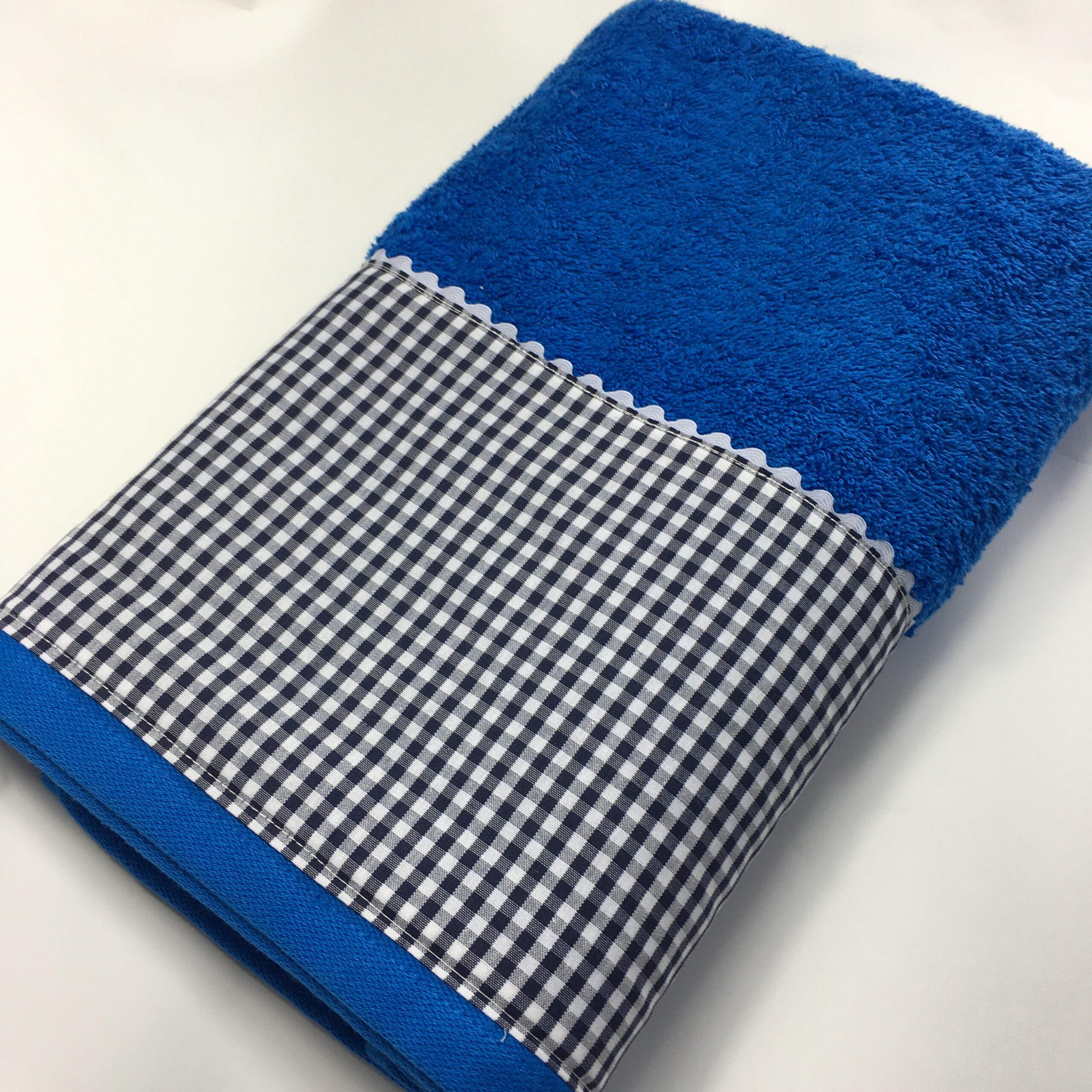Toalla baño vichy azul
